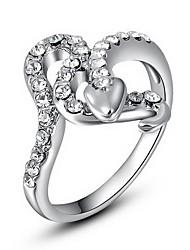 plaqué platine roxi exquise des femmes à coeur noir anneaux de mosaïque (1 pc)