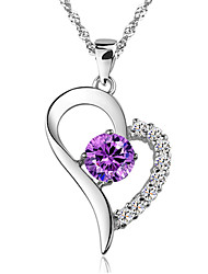 Aimei Women's 925 Silver Fashion Crystal Necklace