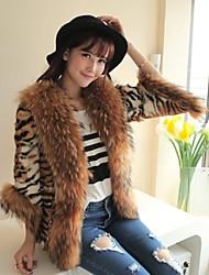 Fur Coats Women's Leopard Grain Leopard Cat Fur Raccoon Coat
