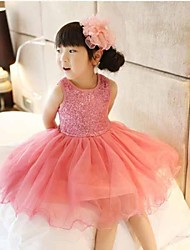 Girl's Round Collar Sequins Sleeveless Princess Dress (More Colors)