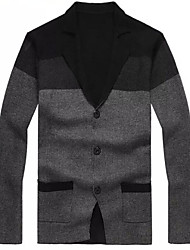 Men's Turn Down Collar Long Sleeve Contrast Color Casual Cardigan