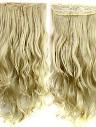 24 Inch 120g Long Heat Resistant Synthetic Fiber Blonde Curly Clip In Hair Extensions with 5 Clips