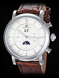FORSINING Men's Auto-Mechanical Six Pointers Rose Gold Case Leather Band Wrist Watch (Assorted Colors)