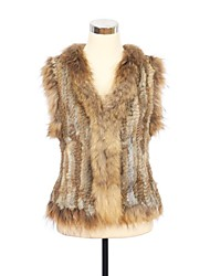 Fur Vest Raccoon Collar Genuine Real Knitted Rabbit Fur Casual Vest(More Colors)