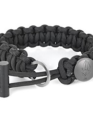 EDCGEAR Parachute Cord Rope Bracelet with Ferrocerium Rod + Hidden Knife - Black