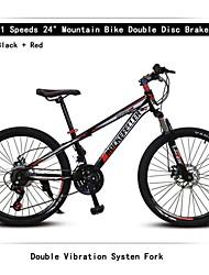 """21 vitesses choc vibrations frein 24 """"VTT rc ™ double disque de fourche fourche systen montagne de suspension vélo"""