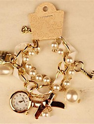 Women's Round Metal Chain Fashion Grand Pearl Bracelet Japanese Quartz  Watch (Assorted Colors) Cool Watches Unique Watches