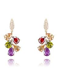 cadeau roxi classique véritable de mode de cristaux autrichiens zircon coloré des femmes laisse boucles d'oreilles (1 paire)