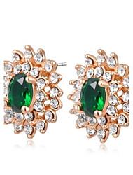 la mode des cercles doubles cristal vert alliage de zircon boucle d'oreille haras des femmes (1 paire)