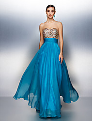 Dress - Ocean Blue Sheath/Column Sweetheart Floor-length Chiffon