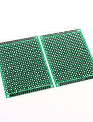6 x 8cm Double-Sided Glass Fiber Prototyping PCB Universal Breadboard(2 pcs)
