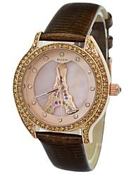 de couro de luxo strass diamantes das mulheres effilé Torre de Vigia padrão impermeável quartzo vestido pulso (cores sortidas)