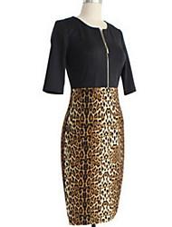 mapas vestido estampado de leopardo cuello estilo occidental ronda de las mujeres