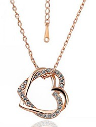 Women's ROXI Fashion Rose Golden Plated With Aaa Zircon Double Heart Pandant Necklaces(1 Pc)