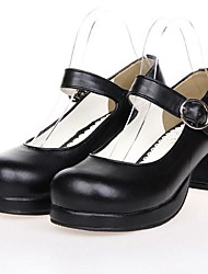 Black PU Leather 4.5CM High Heel Classic & Traditional Lolita Shoes with Row