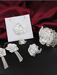 Karuir Women's Handwork Delicacy Fashion 925 Silver Earring&Bracelet&Ring&Necklace Set