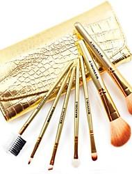 Fation Makeup Brush Sets with 7Pcs Golden Brushs and Alligator Bag