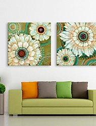E-HOME® Stretched LED Canvas Print Art  Flowers Flash effect LED Set of 2