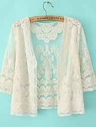 o-cuello de la manera de la manga larga atractiva del bordado de hilo de red playa abrigos y chaquetas para mujeres