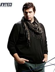 h-United® alto-grande camisetas de algodón de manga larga con cuello en V de los hombres xxl-6xl tamaño grande de lana camisetas