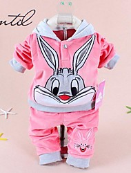 2014 Spring baby sets hoody with cap cartoon rabbit velvet set twinset long sleeve set hoodie and pant children clothing