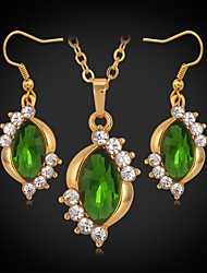 InStyle Luxury 18K Gold Plated Cute Pendant Earrings Set SWA Rhinestone Crystal Fancy Stone Jewelry Women High Quality