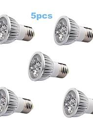 Spot/Projecteurs PAR Blanc Chaud 5 pièces PAR E26/E27 5 W 1 LED Haute Puissance 350-400 LM 3000-3500 K AC 85-265 V