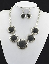 Toonykelly Vintage Look Lava Rock Volcano Stone(Earring and Necklace) Jewelry Set