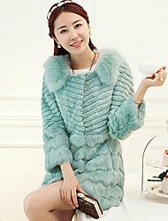 Fur Coat Long Sleeve Turndown Rabbit Fur&Fox Fur Special Occasion/Casual Fur Coat(More Colors)