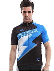 VEOBIKE Men 's Summer Breathable Polyester Short Sleeve Cycling Jersey - Blue+Black