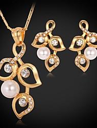 InStyle Luxury Women's Pendant Earrings 18K Gold Plated Austrian Rhinestone Crystal Pearl Bead Jewelry Set High Quality