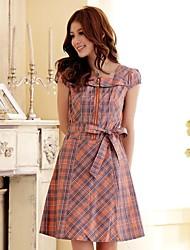 Women's Classic British Grid Short Sleeved Dress