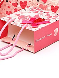 Heart-shaped Bow Pearl Paper Favor Bags For Wedding  Set of 10