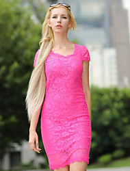 Women's Vintage / Bodycon / Lace / Party Solid / Lace Bodycon Dress , V Neck Knee-length Lace