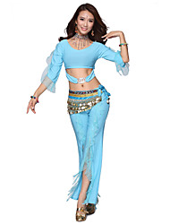 Belly Dance Dancewear Women's Crystal Cotton&Velvet Tassels Sexy Outfits Including Top, Bottom, Belt(More Colors)