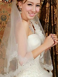 One Tire Elbow Bridal Veils with Lace Trim with Rhinestones ASV30