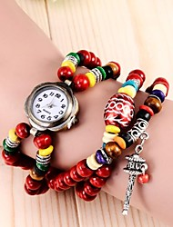 Women's Retro Round Dial Beads Pendant  Bracelet Watch