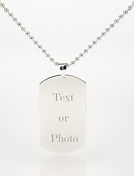 Personalized Gift Men's Jewelry Silver Dog Tag 27.5g (Photo Print)
