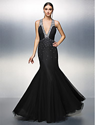 Prom / Formal Evening Dress - Beautiful Back Plus Size / Petite A-line V-neck Floor-length Chiffon / Tulle with Draping / Ruching