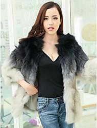 largo abrigo de piel de zorro gradiente de pelo del abrigo de pieles de las mujeres