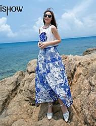 mishow®women s blått och vitt porslin kina stil design dentelle&chiffong Vestidos sexig ärmlös vintage långklänning