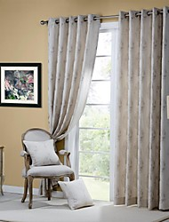 Room Darkening Linen Jacquard Little Tree  Curtain (Two Panel)