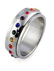 Dazzle Beautiful Colorful Rainbow Titanium Steel Ring