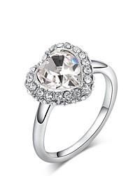 europeu de liga leve de cristal austria formato de coração indivíduo anéis instrução das mulheres (1 pc)