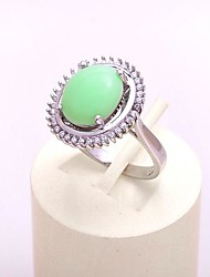 AS 925 Silver Jewelry  Green jade exquisite 12MM*10MM oval ring
