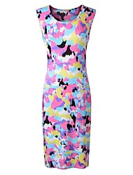 Women's Going out Sheath Dress,Print Round Neck Midi Sleeveless Multi-color Summer