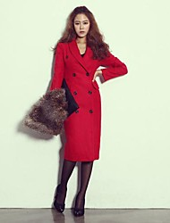 Women's Red/Black Trench Coat , Casual Long Sleeve Tweed
