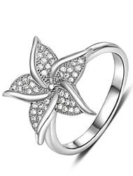 Women's Fashion Platinum Diamanted Silver Copper Statement Rings(1 Pc)