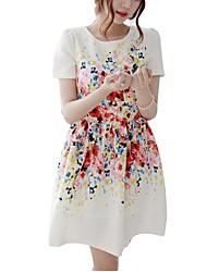 vestido de manga curta flor localização magro das mulheres