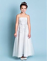 A-line Straps Ankle-length Lace Flower Girl Dress